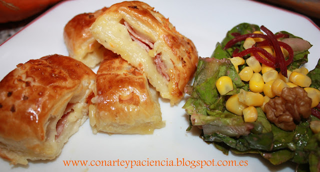 Mininapolitanas de jamón york y dos quesos