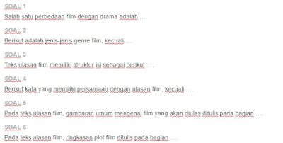 Contoh Soal Struktur isi teks film , drama