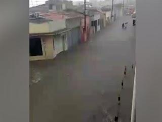 Chove forte em cidades do Cariri da Paraíba e ruas viram 'rios'; veja vídeo