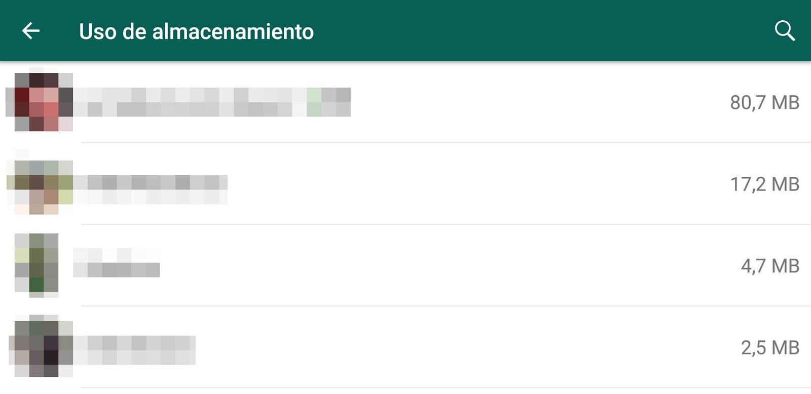 La sección de desglose de almacenamiento en WhatsApp