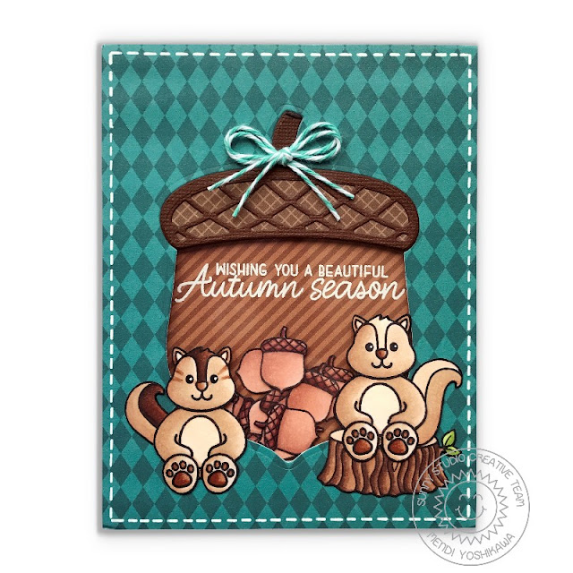 Sunny Studio Stamps: Nutty For You Shaker Card (using Beautiful Autumns, Woodsy Creatures & Comfy Creatures stamps).