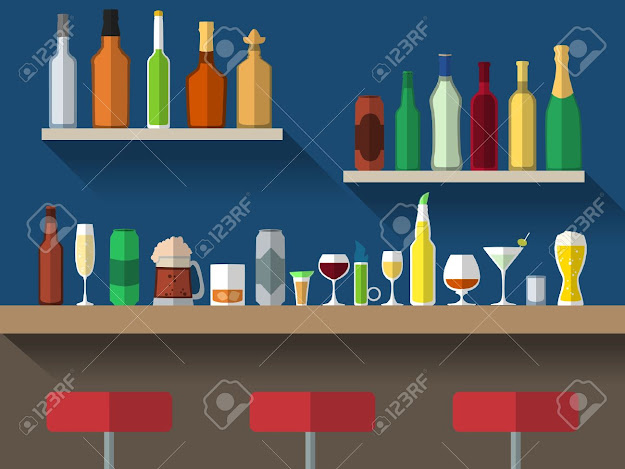 Bar Counter With Stools And Alcohol Drink On Shelves Flat Vector  Illustration Stock Vector