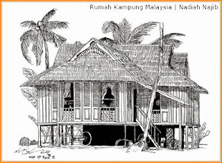 Lukisan Rumah Kampung Malaysia oleh Nadiah Najib