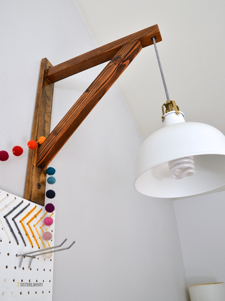 an easy DIY corbel shelf plug in pendant lamp holder