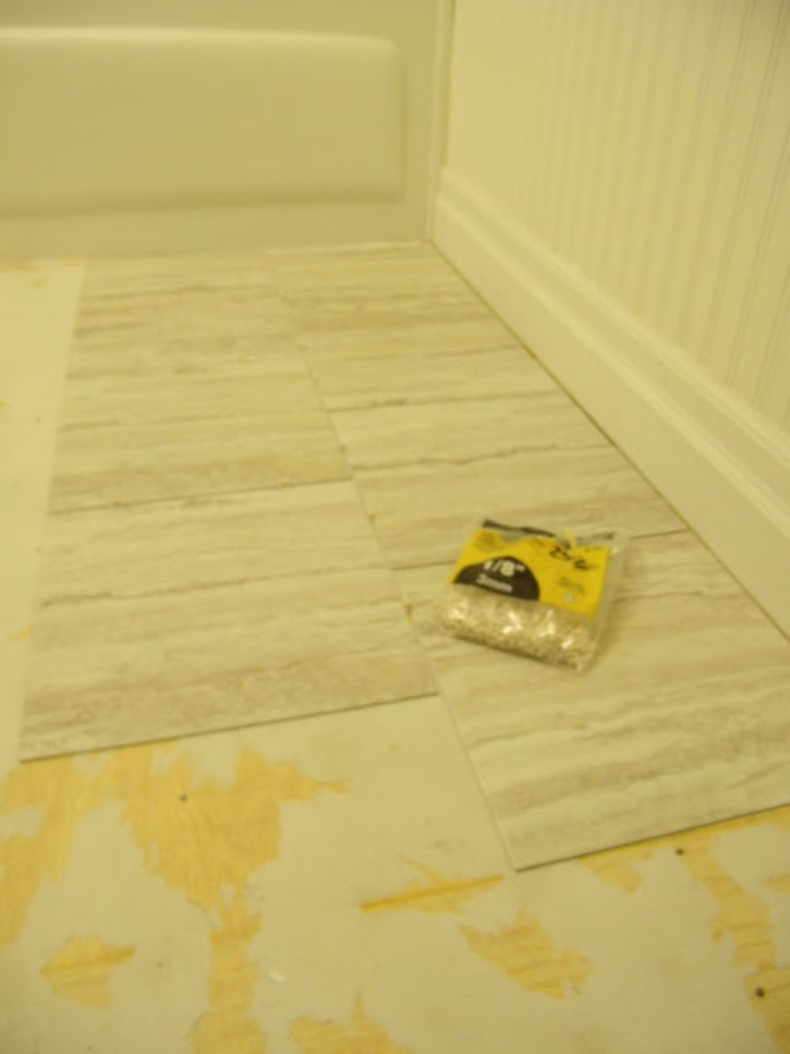 Superieur When The Floor Is Ready And Obstacles Out Of The Way, Start Peeling And  Sticking! The Groutable Tile Actually Gives A Good Margin For Error (as The  Grout ...