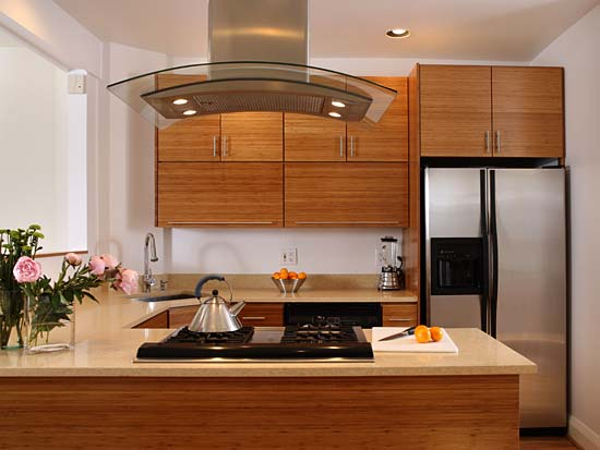 Merillat Kitchen Cabinets Utility Table Bamboo Lamp Photo: