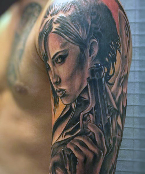 Beautiful Girl With Gun Tattoos Designs