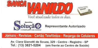 Banca  Vanildo em Registro-SP