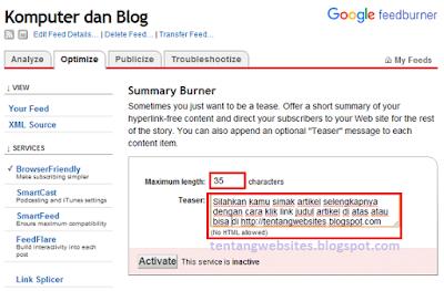 Cara menonaktifkan feed post blog (Benteng Penghadang Blog AGC)