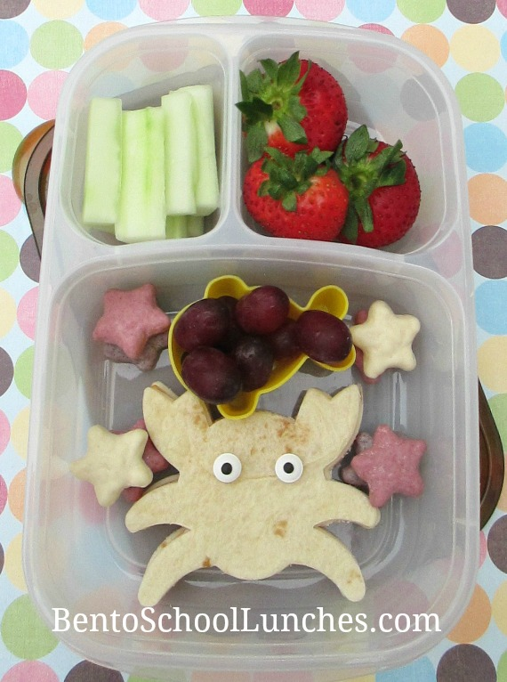 Crab shaped tortilla, bento school lunches