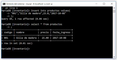 Agregar datos de tablas Mysql desde consola