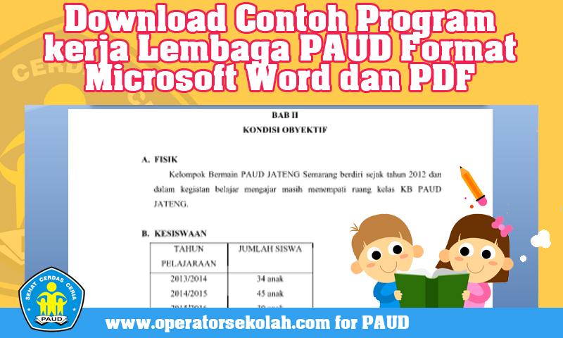 [Download] Contoh Program kerja Lembaga PAUD Format Microsoft Word dan PDF
