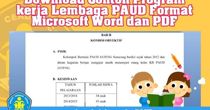 Download Contoh Program Kerja Lembaga Paud Format Microsoft Word Dan Pdf Operator Sekolah