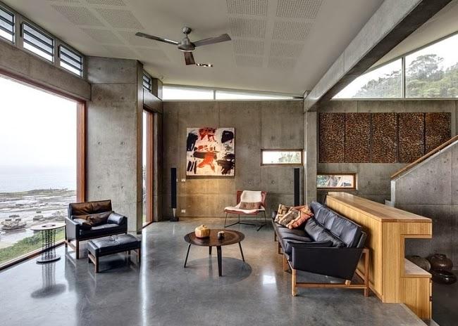 salas decoradas con paredes de concreto salas con estilo. Black Bedroom Furniture Sets. Home Design Ideas