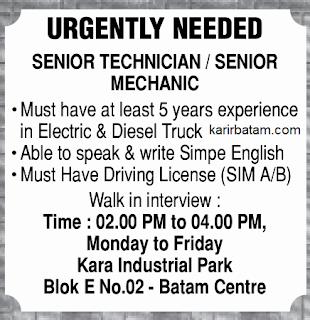 Lowongan Kerja Senior Technician/Mechanic