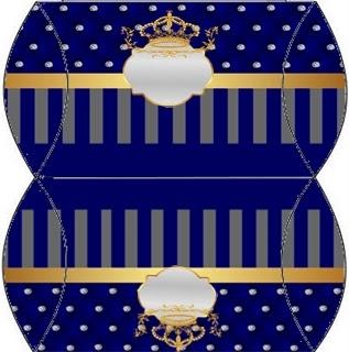 Cajas Almohada  de Corona Dorada en Azul y Brillantes.