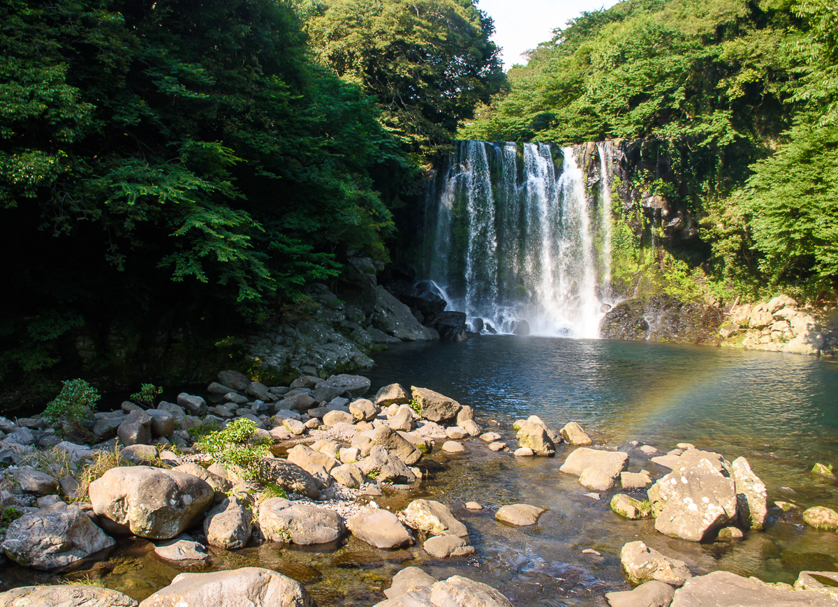 Cheonjeyeon waterfall in jeju korea