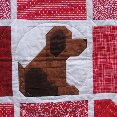 Puppy quilt block in Tic Tac Woof! by Canuck Quilter Designs