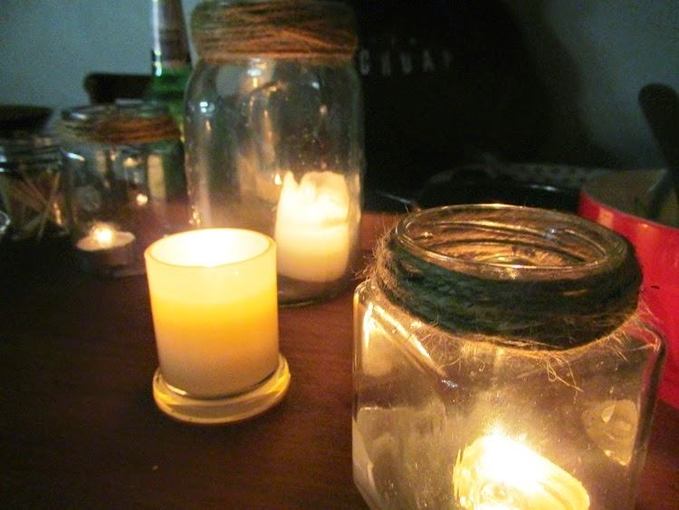 Jar Candles on the table