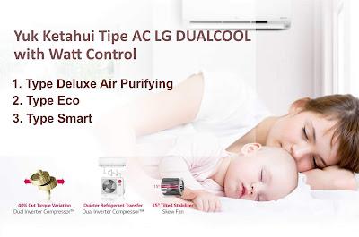 Tipe AC LG DUALCOOL with Watt Control