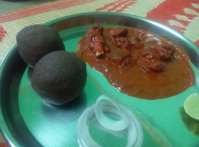 Ragi Mudde Recipe Finger Millet with Spicy Mutton Curry Gravy Indian  with Lemon Onion For Lunch