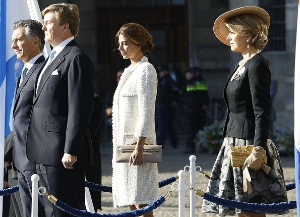 Queen Maxima and Juliana Awada. Queen Maxima wore Matthijs van Bergen Coppens Lelies Jacket and Skirt and L.K. Bennett shoes