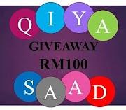 Giveaway Cash RM100 by Qiya Saad for November 2017