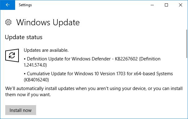 Cập nhật 25 tháng 4, 2017 - KB4016240 cho Windows 10 Phiên bản 1703 (OS Build 10563.250)