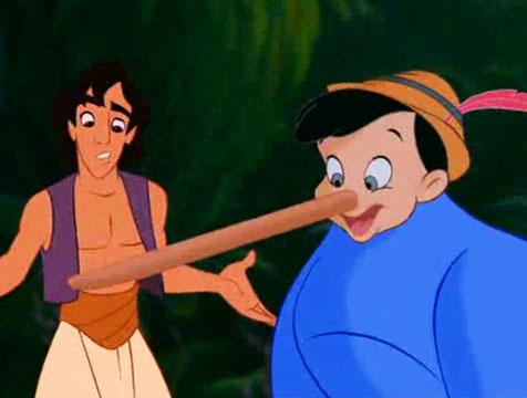 Aladdín y el Genio con cabeza de Pinocho - Cine de Escritor
