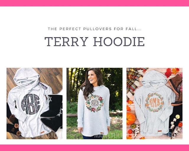 monogrammed terry hoodie for fall