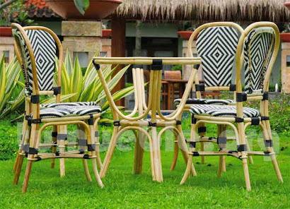 silla para comedor hecho en caña de bambú y rattan sintético 6092