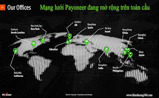 Payoneer đang mở rộng mạng lưới trên toàn cầu