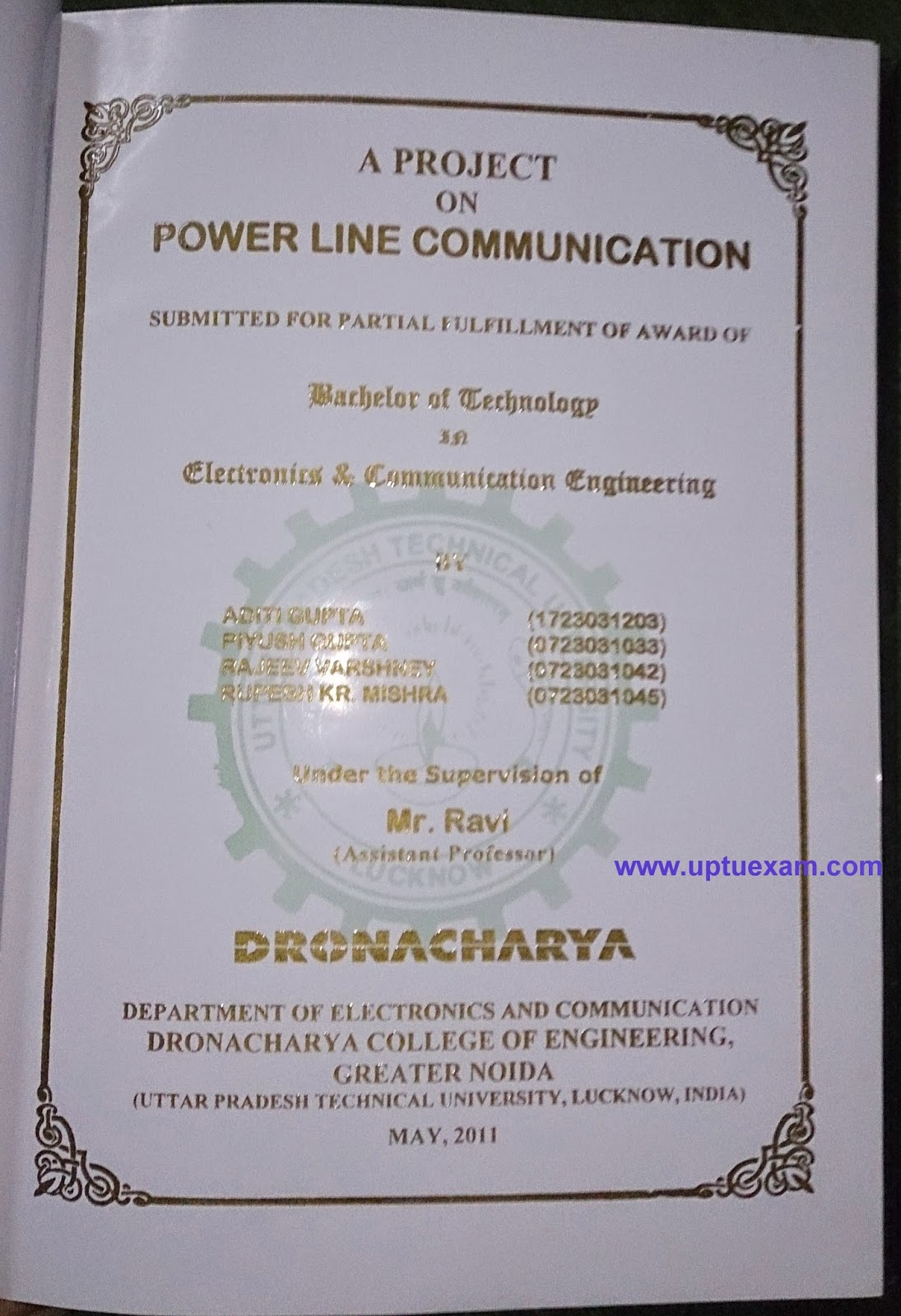 Ece Dronacharya Final Year Project Report Format - Inspirational
