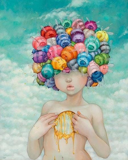 "Camilla d'Errico, ""Bonnie Bonnet"" - oil on wood panel | obras de arte pop contemporaneo, pinturas, surrealismo pop, art pictures inspiration | art selecta"