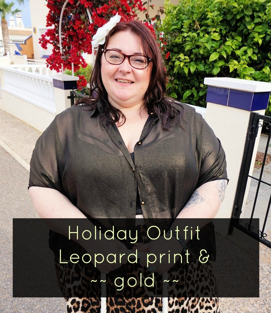 Leopard print skirt and sheer gold shirt plus size outfit featuring Elvi