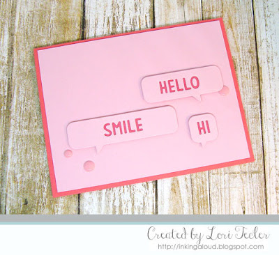Speech Bubble Hello card-designed by Lori Tecler/Inking Aloud-dies from Lawn Fawn