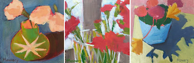 Three small floral paintings by Maryland artist Barb Mowery