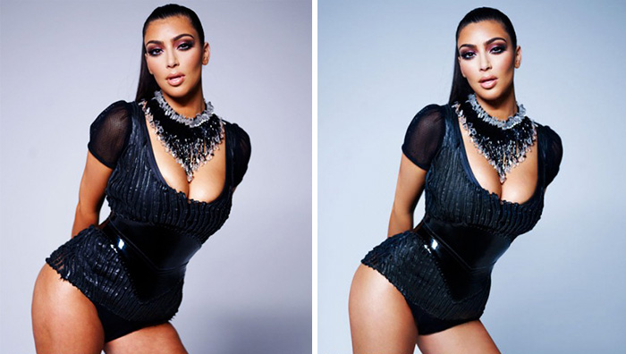 20 Before & After Images Of Celebs Reveal Society's Unrealistic Standards Of Beauty - Kim Kardashian