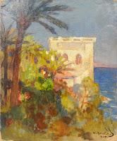Cannes, France Seascape Landscape Painting, Nicolas Becker