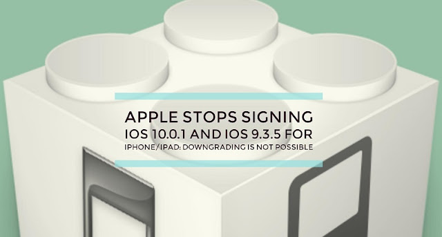 Apple has stopped signing iOS 10.0.1 and iOS 9.3.5 for iPhone 7, iPhone 7 Plus, iPhone 6s/Plus or below. Downgrade back from iOS 10.0.3 and iOS 10.0.2 is not possible.