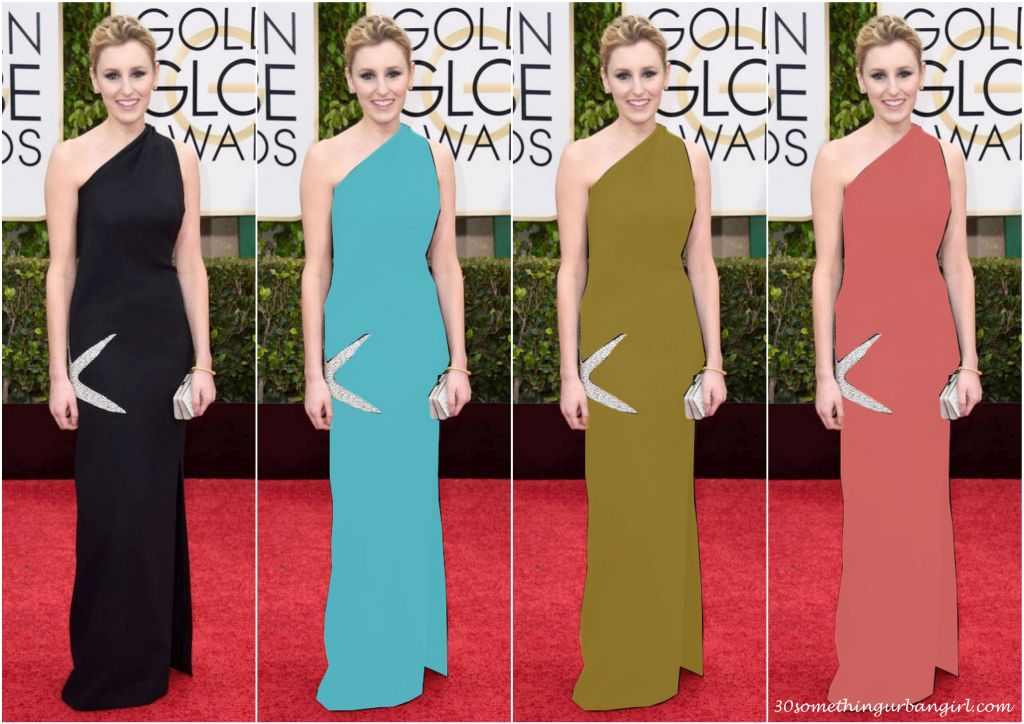 Laura Carmichael's James Galanos Golden Globes 2015 dress in different colors