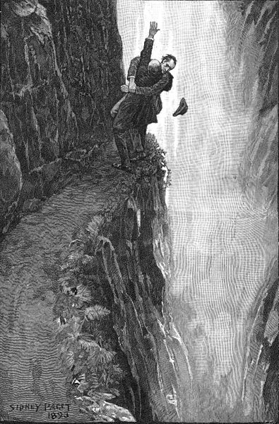 Sherlock Holmes and Professor Moriarty engaging in Baritsu, japanese martial arts at the Reichenbach Falls in The Final Problem