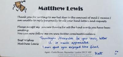 Matthew Lewis autograf, Neville Longbottom, liścik, letter, autograph