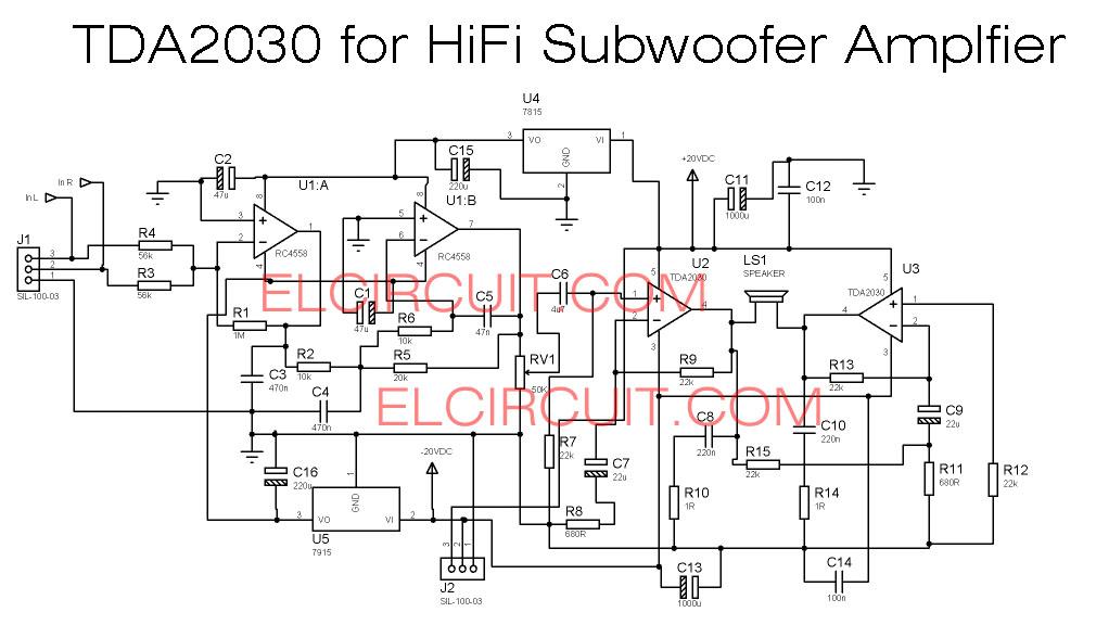 100w subwoofer amplifier circuit diagram wiring tda2030 schematic great installation of make for electronic rh elcircuit com btl