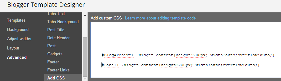 Blogger - Add scroll Box for Archive and Labels | Life and Linda