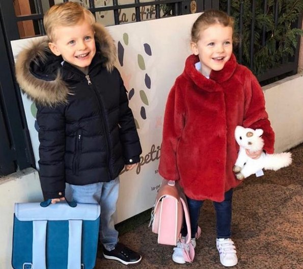 Princess Charlene shared a photo of her twins Jacques and Gabriella taken on the first day of school after Christmas holiday