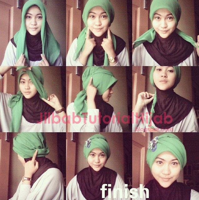 Tutorial Style Hijab Segi Empat turban 2016