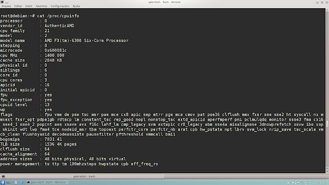 Aqui a mesma especificações obtidas dentro de /proc/cpuinfo que são mais detalhadas e por núcleo.