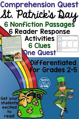 Comprehension Quests are a fun way to practice nonfiction reading passages along with standards aligned reader response activities. You can use this quest to teach your students about all things St. Patrick's Day! After each passage, students will earn a clue that gets them one step closer to solving the quest!