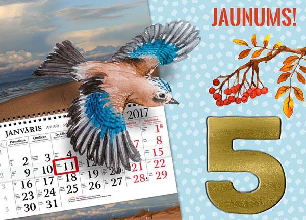 5 sienas kalendāri